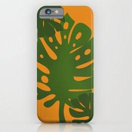 orange and monstera iPhone Case