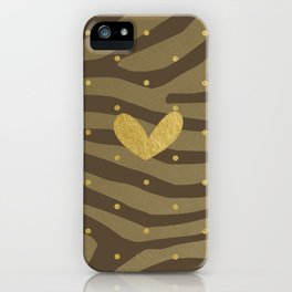 Classy Gold Print and Dots iPhone Case