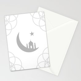 Mosque and crescent moon- symbol of the religion of Islam Stationery Cards