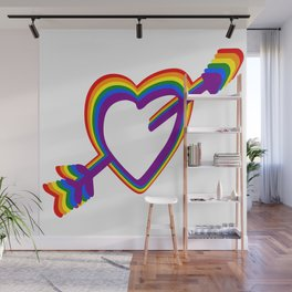Colorful Rainbow Heart with Arrow LGBT Gay Pride Support Wall Mural