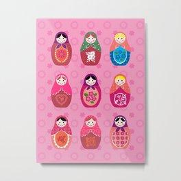Matryoshka dolls pink Metal Print