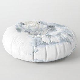 Mini Lop Gray Rabbit Watercolor Painting Floor Pillow