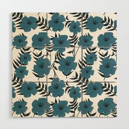 Blue Flowers with Banana Leaves Wood Wall Art