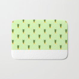 Green Pineapple Gingham Patterned Print Bath Mat