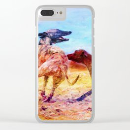 Greyhound Dogs Clear iPhone Case