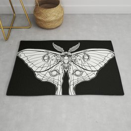 Art Nouveau Moth (black background) Rug