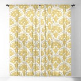 Fan Pattern Mustard Yellow 201 Sheer Curtain