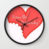 patriarchy Wall Clocks featuring Screw The Patriarchy by Paris Noonan