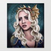 khaleesi Canvas Prints featuring The Dragon Queen by asdfhd