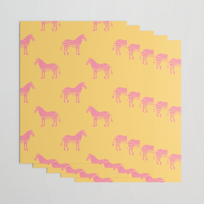Zebra Pattern in Pink and Yellow Wrapping Paper