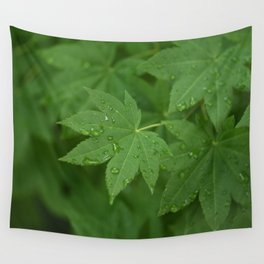 Rainy Leaves Wall Tapestry