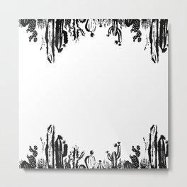 Cactus B&W Metal Print
