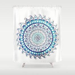 Blue and Silver Metallic Detail Mandala Shower Curtain