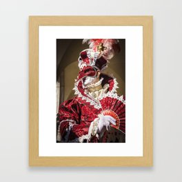 Red carnival mask in Venice Framed Art Print