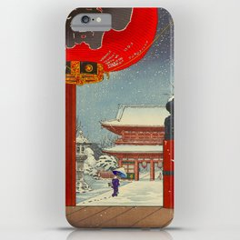 Tsuchiya Koitsu A Winter Day at The Temple Asakusa Vintage Japanese Woodblock Print iPhone Case