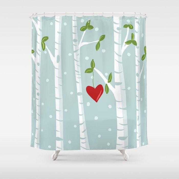 Bue Birch Shower Curtain