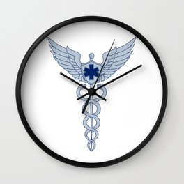Caduceus With Pilot Wings EMT Star Icon Wall Clock