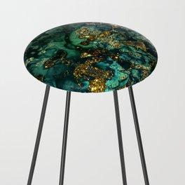 Gold Indigo Malachite Marble Counter Stool