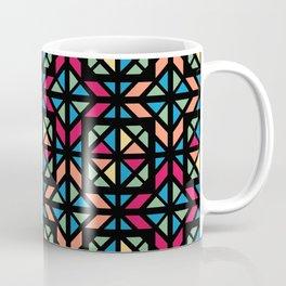 Colorful geometric stained glass black contour Coffee Mug