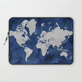 Dark blue watercolor and grey world map Laptop Sleeve
