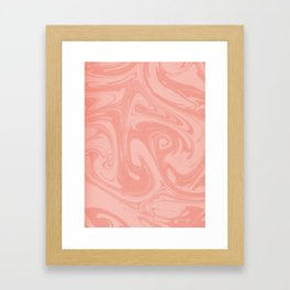Pantone Living Coral Abstract Fluid Art Swirl Pattern Framed Art Print