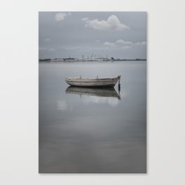 Peaceful boat in a shitty day Canvas Print