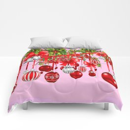 RED HOLIDAY ORNAMENTS FLORAL ART Comforters