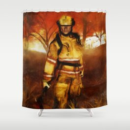 FIRST RESPONDER - Firefighter, Bushfires, Emergency Services Shower Curtain
