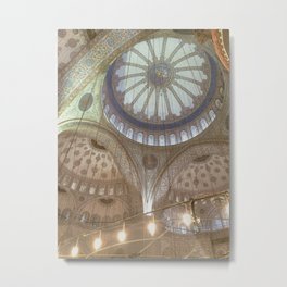 Blue Mosque, Istanbul - ceiling with hanging chandelier Metal Print