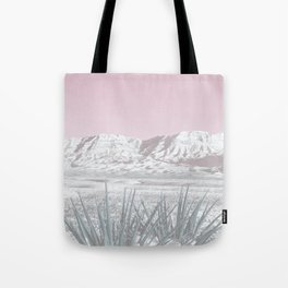 Mojave Snow // Red Rock Canyon Las Vegas Desert Landscape Light Pink Sky Vintage Photography Tote Bag