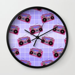 Boombox / Blue Grid Wall Clock
