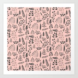 Pink and black leaves Art Print