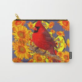 GOLDEN SUNFLOWERS RED CARDINAL GREY ART Carry-All Pouch
