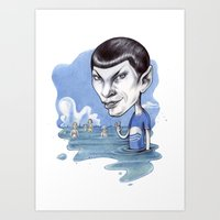 spock Art Prints featuring spock by ElenaTerrin