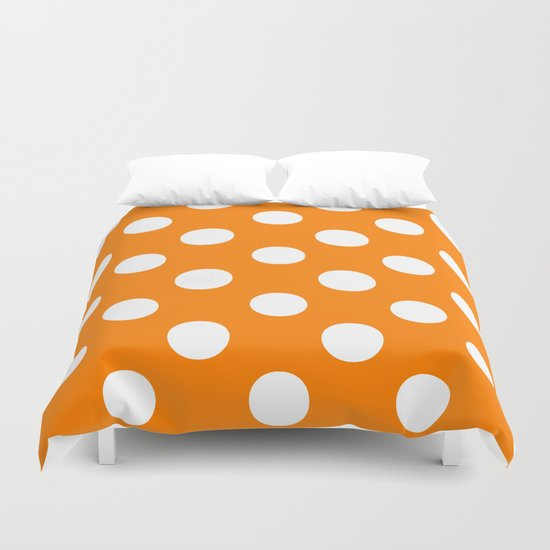 Polka Dots (White/Orange) Duvet Cover