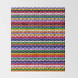 Knitted colorful lines Throw Blanket