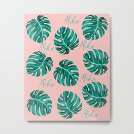 Aloha script tropical emerald green monstera leaves on pink blush Metal Print