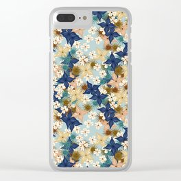 Dainty floral burst on duck egg blue Clear iPhone Case