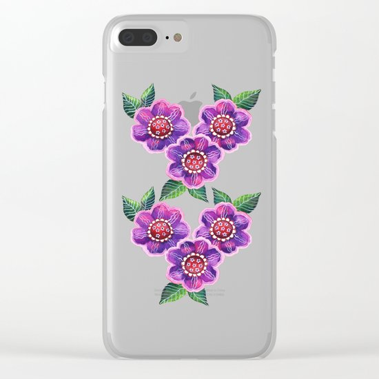 Purple Flowers I Clear iPhone Case