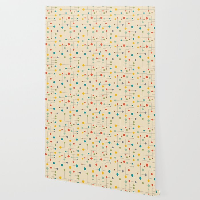 Mid-Century Dots Pattern Wallpaper