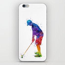 Boy Golf Player 2 Beautiful Colorful Waterolor Art iPhone Skin