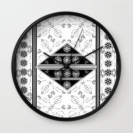 vintage black tile mandalas Wall Clock
