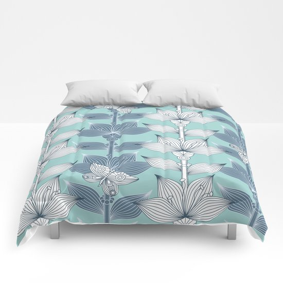 WHITE AND BLUE FLOWERS Comforters