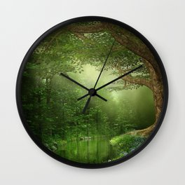 Summer Forest River Wall Clock