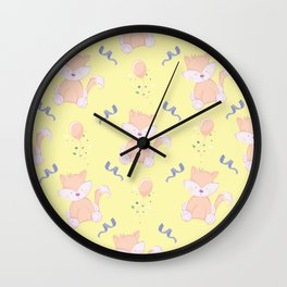 Happy Birthday Orange Fox on Yellow Background Pattern Wall Clock