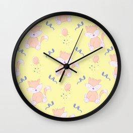 Happy Birthday Orange Fox on Yellow Background Pattern Wall Clock