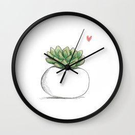 Succulent in Plump White Planter Wall Clock