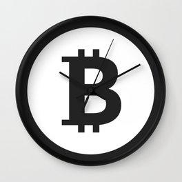 Bitcoin black logo icon Wall Clock