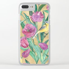 Blue Headed Wagtail in the Tulips Clear iPhone Case
