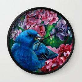 Indigo Bunting Colored Pencil Bird Artwork Drawing Wall Clock